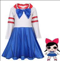 Wholesale school uniform girls clothing for sale - Baby girls School uniform dress Bow cosplay dress children girl doll princess dresses Spring Autumn Boutique kids Clothes dress KKA6318