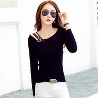 e572b6d875b T-shirt Women 2019 Autumn Cotton Female Tshirts Solid Slash Neck Tops Tees  Lady Long Sleeve Plus Size Tshirt Camiseta Mujer