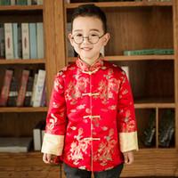 año nuevo chino ropa niños al por mayor-Rojo Satén Cheongsam Top Brocado Bebé Ropa de Año Nuevo Chino Chaqueta de Niño de Invierno Niños Niños Chaqueta rompevientos Chaqueta para niños Chipao