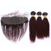 Wholesale red wine ombre hair for sale - Group buy Burgundy Ombre Kinky Curly Human Hair Weave Bundles with Frontal Closure B J Wine Red Ombre Indian Hair Wefts with Lace Frontal x4
