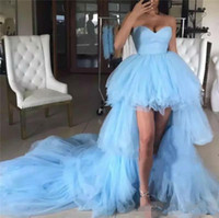 zemin uzunluğu erik elbiseleri toptan satış-Açık gök mavisi Yüksek Düşük Katmanlar Uzun Tren balo elbiseleri, uzun kızlar yarışmasında elbise Sevgiliye giysiler gece elbiseleri