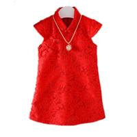 ingrosso perle di moda cinese-vestiti di abbigliamento di estate di buona qualità neonate abito di pizzo perla moda cotone cinese abiti da festa in stile abito da festa di nozze