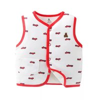 Wholesale vest warmer for sale - Kids Floral Printed Vest Children Fashion Streetwear Baby Girls Outerwear Vest Kids Winter Warm Cotton Vest RRA712