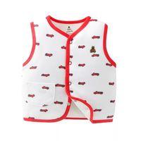 chalecos para niños al por mayor-Niños Floral Impreso Chaleco Moda Niños Streetwear Bebés Ropa de Abrigo Niños Invierno Cálido Chaleco de Algodón 4 unids / lote RRA712