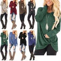 uzun ince sığdırılmış tişörtler toptan satış-Kadın Kink Top T-Shirt Kadın Giyim Slim Fit Uzun Kollu Yuvarlak Boyun Düz Renk Splice Tops 49