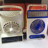 ledli lamba mini fan toptan satış-Mini Fan Fener USB Şarj Güneş Enerjili Led Masa Işık Plastik Renk Kutusu Ile Açık Kamp Lambası 25 5st E1