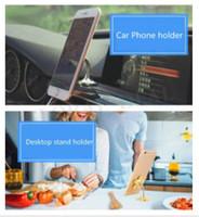cep telefonu emme kupası tutacağı toptan satış-Enayi Cep Telefonu Için Standı Tutucu 360 derece Dönebilen Metal Çiçek Çift taraflı Sihirli Vantuz Cep Telefonu Tutucu Araba Braketi Dağı