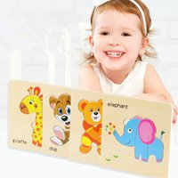 ingrosso animali puzzle cartoon-Giocattoli per bambini Puzzle in legno Cute Cartoon Animal Intelligence Bambini Educational Rompicapo Bambini Tangram Forme Jigsaw Regali MMA2048