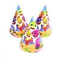 geburtstagshüte für kinder großhandel-6pcs Baby Shark Thema Partyhüte Kindergeburtstag Hochzeitsfest liefert Baby Shark Einweghüte liefert