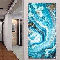 abstrakte gemälde wellen großhandel-Wandkunst Poster Modulare Leinwand HD Drucke Gemälde 1 Stück Blaue Welle Abstrakte Bilder Wohnkultur Für Wohnzimmer Rahmen