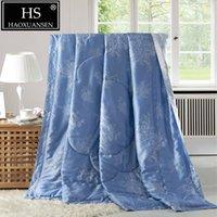 quilt cover king blau großhandel-100% lyocell tencel stoff blau dünne quilt super weiche klimaanlage leichte quilts sommer erwachsene bettdecke königin king size