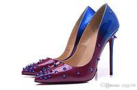 lila fersenspitzen großhandel-Purple and Blue Tapered Loose mit Spikes Rote Unterseite Hohe Absätze Damenschuhe 12cm Hohe Ferse Damen Weibliche Schuhe Niedrige Schuhe Pumps