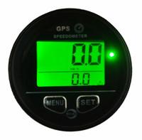 medidor do odómetro venda por atacado-Waterproof Medidor de hodômetro GPS velocímetro verde retroiluminado Fio 60 milímetros