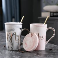 Wholesale plates ceramic color for sale - Group buy Luxury Marble Pattern Ceramic Mugs Gold Plating MRS MR Couple Lover Gift Morning Mug Milk Coffee Tea Breakfast Creative Cup
