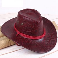Wholesale breathable faux leather for sale - Group buy Unisex Faux Leather Cowboy Hat Solid Sun Horseman Visor Cap Western American Breathable Hats Outdoor Sunscreen Topee LJJJ14