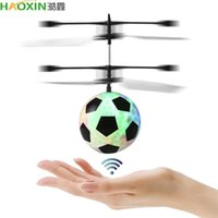Wholesale aircraft lamps resale online - Haoxin Mini Rc Drone Hand Induction Flying Ball Anti Stress Led Light Helicopter Aircraft For Kids Christmas Gift Flying Football Toys