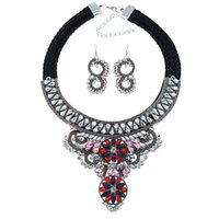 Wholesale jewellery for bridal resale online - Bridal Wedding Jewelry Sets For Women Crystal Earrings Statement Necklace Handmade Costume Jewelry Sets Jewellery