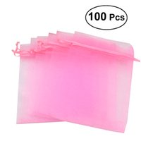 розовые сумки оптовых-100pcs 10x15cm Organza Drawstring Pouches Jewellery Bags Candy Pouch Small Gift Bags for Wedding Party (Pink) A30