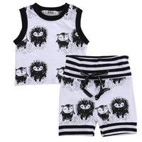 ingrosso giacche per neonati-2019 Baby girl boy hedgehog modello vestiti semplice carino maglia top t-shirt + pantaloncini 2 pezzi set di abbigliamento