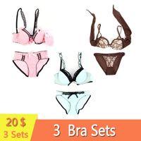 32b829ca39 3 Sets Pack Women Bra Set Multiple Styles Plus Size Padded Push Up Bra  Unlined Underwear Underwire Lingerie Femme Briefs Panty