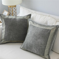 Wholesale blue decor pillows for sale - Group buy Soft Velvet Grey Cushion Cover Home Decor Blue Embroidered Pillow Case Sofa Decorative Pillows cm Throw Pillow Cover