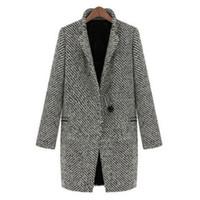 Wholesale vintage mandarin jacket for sale - Group buy Spring Long Coat Parka Vintage Women Autumn Jacket Trench Wool Blends Lapel Outwear Mandarin Collar Single Button