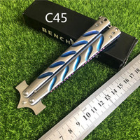 ingrosso swing blu-BENCHMADE C45 SWING full blade 56HRC blu acciaio al titanio BM41 BM46 BM49 BM62 3300 3100 BM KNIVES