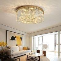 cristal design design éclairage contemporain achat en gros de-lumières Nouveau plafond de lustre en cristal rond contemporain design éclairage des lustres en cristal or conduit lampe de plafond pour salon chambre