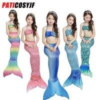 silikon-kostüme großhandel-Sexy Einteiler Mädchen Badeanzug Little Mermaid Bademode Prinzessin Kleid Kostüm Baby Badeanzug mit Meerjungfrau Silikon Schwanz zum Schwimmen