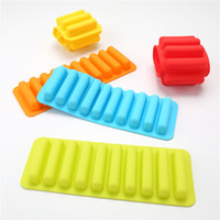 Wholesale long cube for sale - Silicone Biscuits Popsicle Mould Silicone Ice Cube Chocolate DIY Mold Holes Long Finger Bar Biscuit Chocolate Moulds Ice Tray