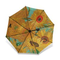 Wholesale paintings for lover resale online - Van Gogh Sunflowers Oil Painting Sun Rain Female Umbrella Three Folding Full Automatic Windproof Men Umbrella for Painting Lover