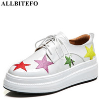 Allbitefo Genuine Leather Butterfly-knot Women Flats Sneakers Shoes Fashion Novelty Platform Shoes High Quality Women Flats Women's Flats Women's Shoes