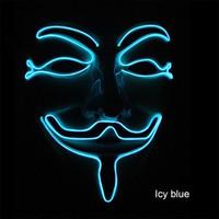 v için korkunç vendetta toptan satış-Neon Maske V Vendetta Maskara için Led Guy Fawkes Maskesi Masquerade Maskeleri Parti Maskara Cadılar Bayramı Parlayan Masker Işık Maska Korkunç EEA322