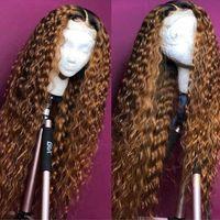 açık kahverengi dantel perukları toptan satış-Açık Kahverengi 360 Dantel Frontal Peruk Ön Koparıp Bebek Saç Ile Brezilyalı Derin Dalga Dantel Ön İnsan Saç Peruk Kadınlar Için Remy Beyo