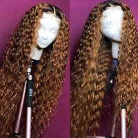 ingrosso parrucche chiare-Parrucca frontale in pizzo marrone chiaro 360 pre pizzicata con capelli da bambino Parrucche brasiliane a onde profonde frontale in pizzo per le donne Remy Beyo