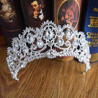 diamond reines haar großhandel-2019 Barock Kristall Perlen Luxuriöser Strass Verziert Brautkrone Kopfschmuck Kopfschmuck Mittlerer Osten Kopf Diademe Zubehör