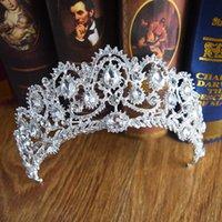 ingrosso accessori a medio oriente-2019 Perle in cristallo barocco con strass lussureggiante Corona nuziale ornata Medio Oriente Copricapo da sposa Testa con diademi Accessori