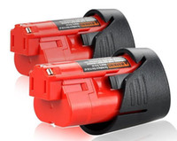 12v lityum piller toptan satış-2Paket 12 V Volt Milwaukee M12 için 12V Lityum Pil 2000mAh KIRMIZI Lityum İyon Kompakt Pil Paketleri 48-11-2401 C12 B M12
