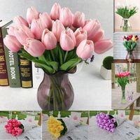 fleurs décoratives violettes achat en gros de-Tulipe Fleurs Artificielles pourpre hortensia PU Latex Tulipes mariée Bouquet Touch Fleurs Pour La Maison Décoration De Noce Fleurs Décoratives