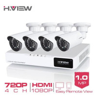 kamera sistemi kitleri toptan satış-H. VIEW 4CH 720 P Video Gözetim Kiti Kamera Video Gözetim Açık CCTV Kamera Güvenlik Sistemi Seti CCTV Sistemi için ev