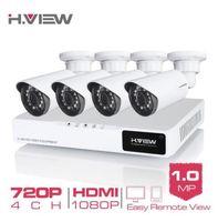 ingrosso kit di sicurezza esterna-H.VIEW 4CH 720P Kit di videosorveglianza Videocamera Videosorveglianza per esterni Telecamera CCTV Kit Sistema di sicurezza Sistema CCTV per la casa