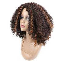 ingrosso capelli africani sintetici ricci-Parrucca capelli ricci crespi afro crespi Parrucca sintetica capelli ricci crespi parrucca sintetica colorata mista
