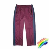 bordado de terciopelo al por mayor-Púrpura AWGE Agujas Sweatpants terciopelo bordado de la mariposa cinta rayada Agujas Pantalones mejor calidad AWGE Joggers pantalón