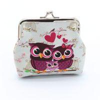 sevimli baykuş cüzdanları toptan satış-1 adet Sevimli Baykuş Desen Deri Coin Çantalar Fermuar Sıfır Cüzdan Çocuk Kız Erkek Kadın Çanta, bayan Coin Çanta Anahtar Paket Bırak Gemi