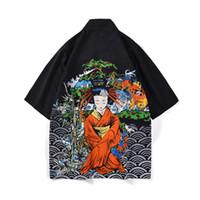 trincheira japonesa venda por atacado-Estilo japonês Quimono Camisa dos homens Kimono Cardigan Chinês Padrão Hip-hop Solto Fit Poliéster Homem Tops 2019 Novo Trench Coat