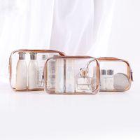 şeffaf kozmetik berrak torbalar toptan satış-Gezi Temizle Makyaj Çantası Organizatör Şeffaf Pvc Beautician Kozmetik Çanta Güzellik Tuvalet Çanta Yukarı Kılıfı Yıkama Bags