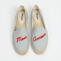 мокасины для женщин оптовых-DZYM 2019 Summer Embroider Letter Women Fishemen Shoes Flax Canvas Espadrilles Cool Design Loafers Weaving Breathable Flats