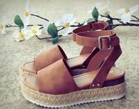 sandalias de tacón alto sandalias al por mayor-Zapatos de cuña para mujer Sandalias Tallas grandes Zapatos de tacón alto Verano 2019 Chanclas Chaussures Femme sandalias de plataforma 2019