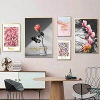 pinturas románticas de rosas al por mayor-Rosa rosa flor vintage romántico Francia Italia lienzo pinturas Vintage Kraft carteles recubiertos pegatinas de pared decoración regalo familiar