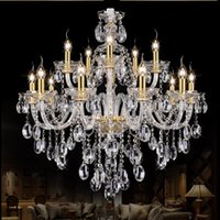 araña moderna de moda al por mayor-Light Chandelier Modern crystal Arañas grandes Luxury Modern Chandelier Lighting moda Luxury Gold transparente K9 Crystal 90-265V